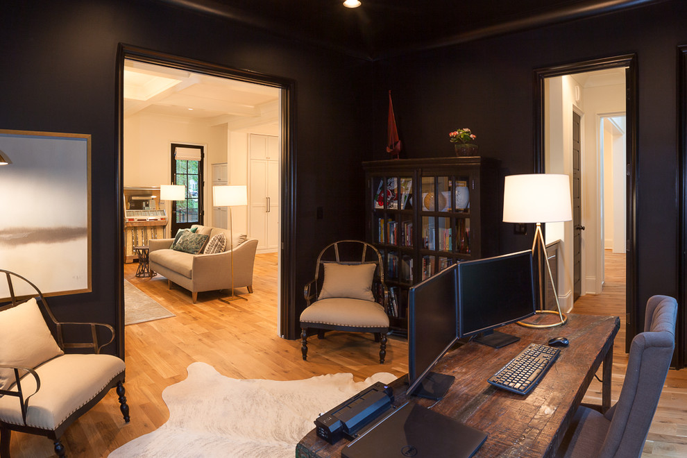 Inspiration for a transitional home office remodel in Charlotte