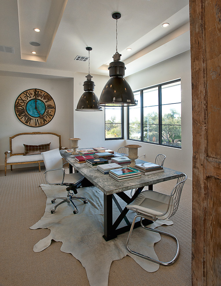 Home office - transitional freestanding desk carpeted home office idea in Austin with white walls