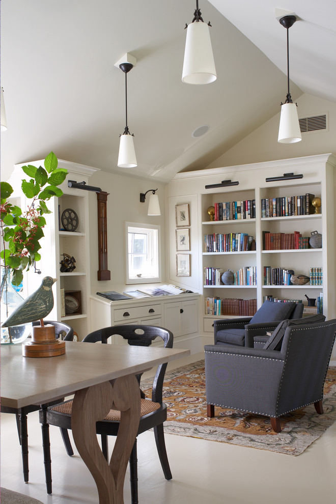 Example of a mid-sized transitional freestanding desk white floor and porcelain tile home office library design in Boston with white walls and no fireplace