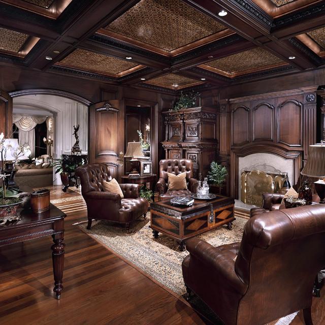 Chateau samara traditional home office library - Interior design institute orange county ...