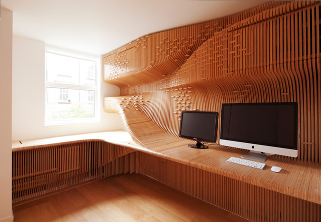 Example of an eclectic home office design in London
