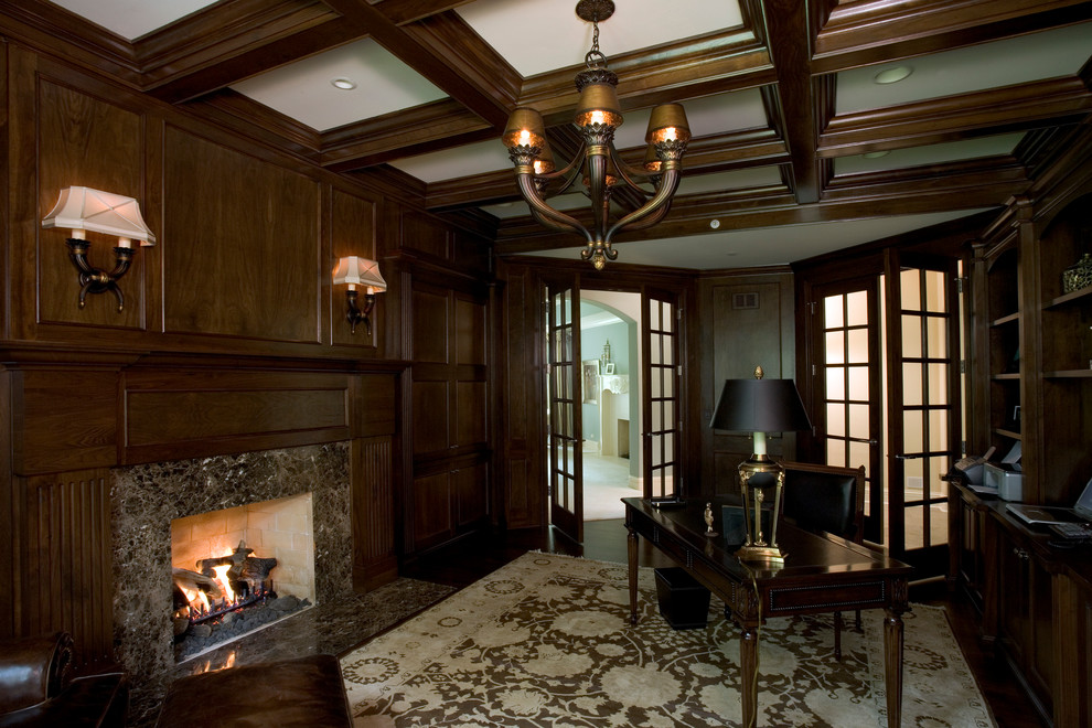 Cherry Paneled Library with Coffered Ceiling - Traditional ...