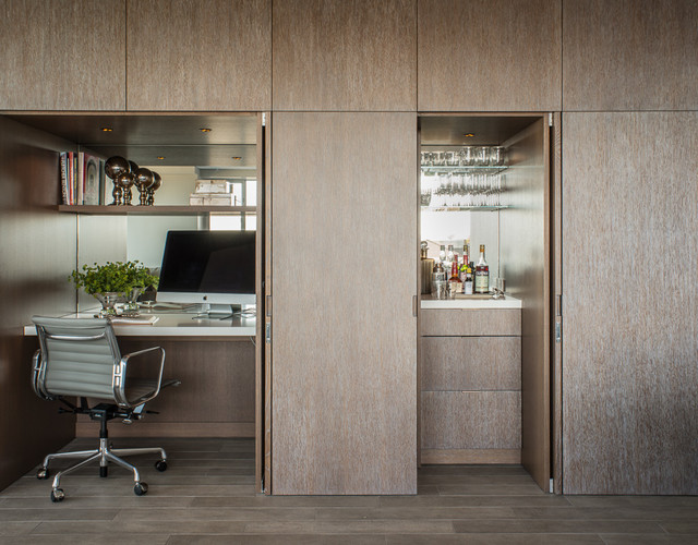 Home Office   Small Contemporary Built In Desk Home Office Idea In San  Francisco
