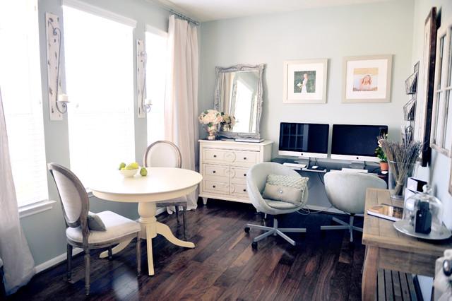 Eclectic freestanding desk dark wood floor home office photo in San Francisco with gray walls