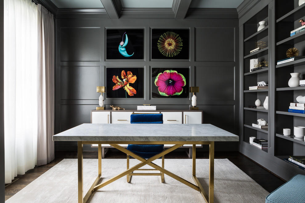 Inspiration for a transitional freestanding desk dark wood floor and brown floor home office remodel in DC Metro with gray walls