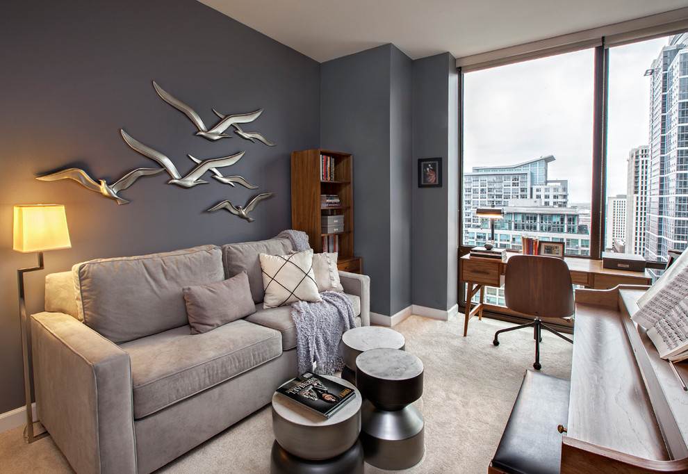 Example of a small trendy freestanding desk carpeted study room design in Chicago with gray walls and no fireplace