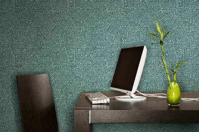 Circuit board wallpaper modern home office detroit for Wallpaper home office