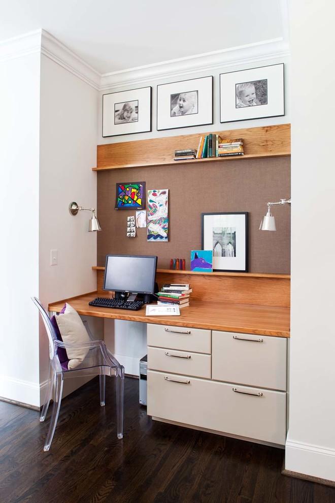 Study room - small contemporary built-in desk dark wood floor study room idea in Atlanta with gray walls