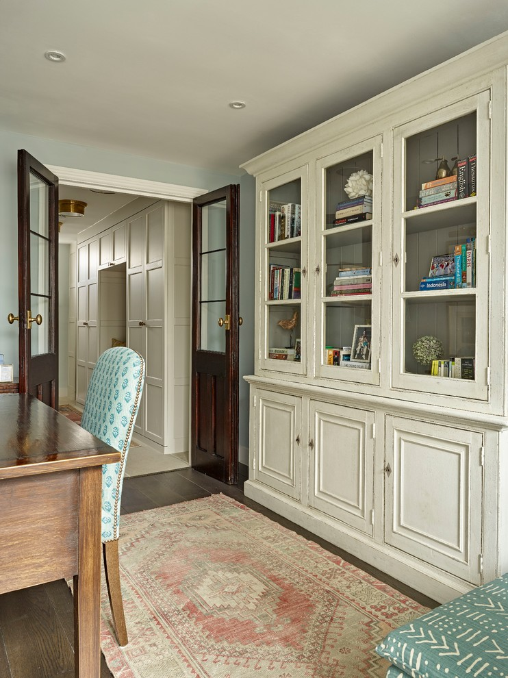 Example of a small classic home office design in London