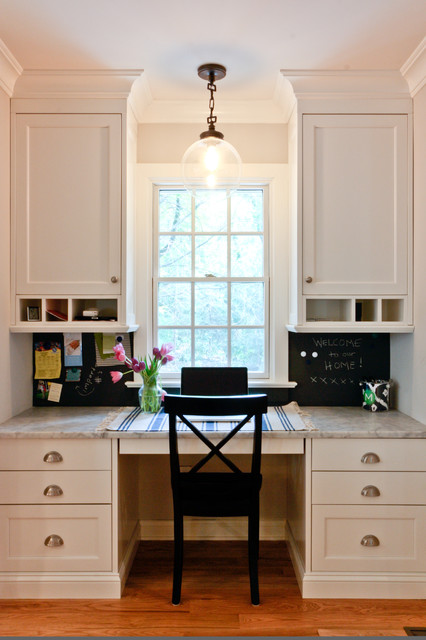 Classic coastal colonial renovation the kitchen desk for Built in study table