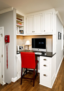 Small home office built in hall corner space.
