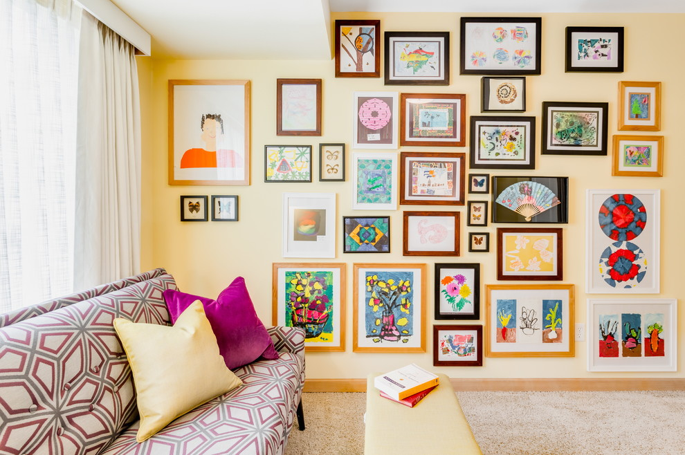 Home office - eclectic carpeted home office idea in Seattle with yellow walls and no fireplace