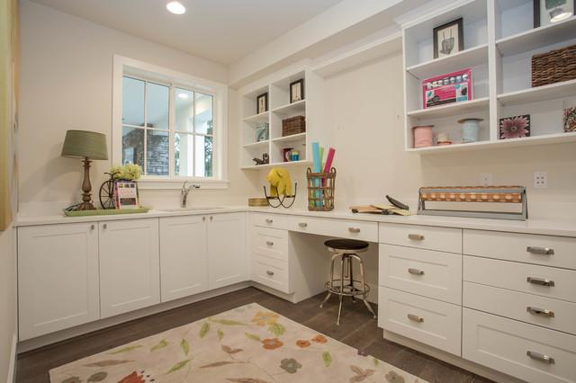 Inspiration For A Farmhouse Built In Desk Dark Wood Floor Craft Room Remodel Seattle