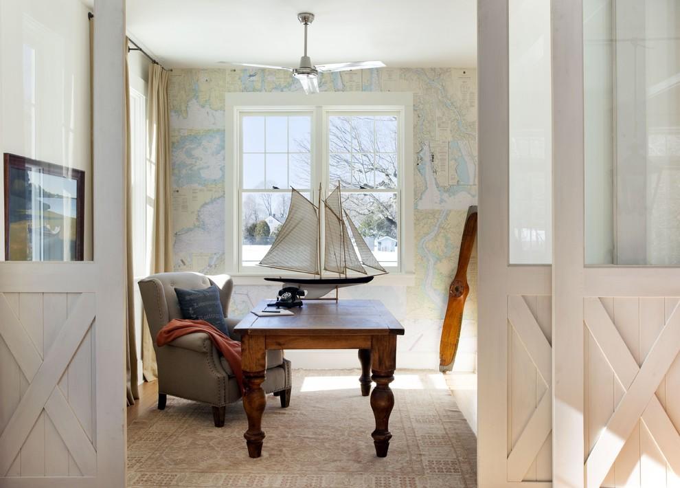 Beach style freestanding desk home office photo in Boston