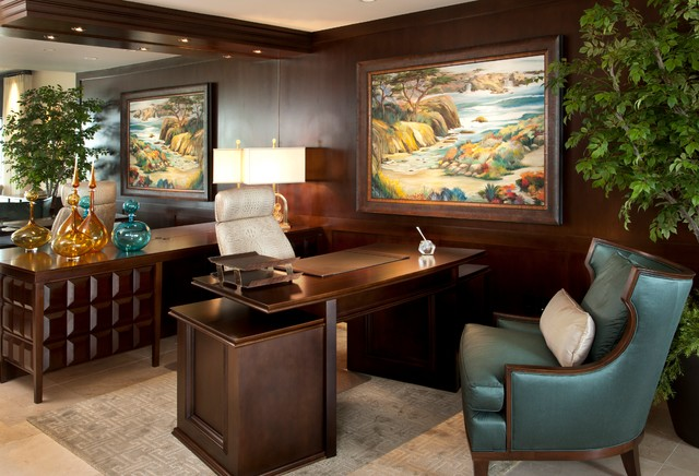 Coastal Luxury Transitional Home Office San Diego