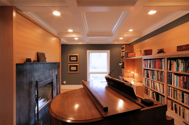 Coffered Ceiling Library Music Room with Steel Fireplace