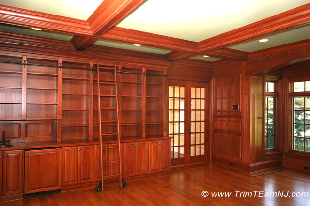 Coffered Ceilings and Beams - Traditional - Home Office ...