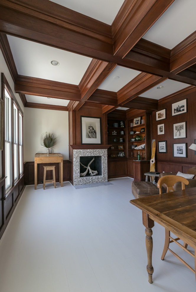 Coffered Ceilings Mahogany Office Ceiling Stained Beams Dark Beach Style Home Office Charleston By Sea Island Builders Llc