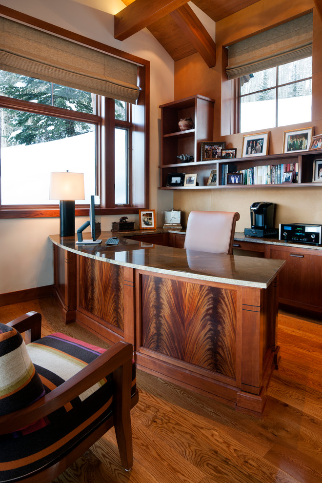 Example of a transitional home office design in Philadelphia