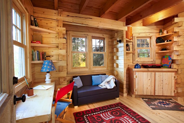 colorado treehouse rustic home office - Kids Tree House Interior