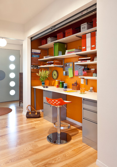 colorful mid century modern residence midcentury home office