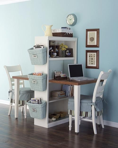 Compact and Functional Double Desk Space traditional-home-office