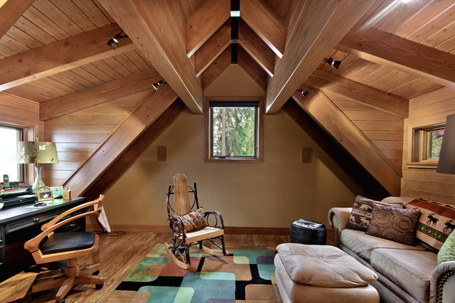 Concrete Floored Abode - a cabin on Lake Wenatchee traditional home office