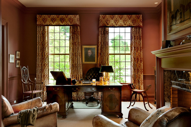 Connecticut estate traditional home office new york by crisp architects Traditional home library design ideas