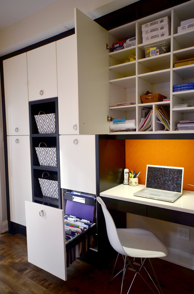 Home office - contemporary built-in desk home office idea in Ottawa