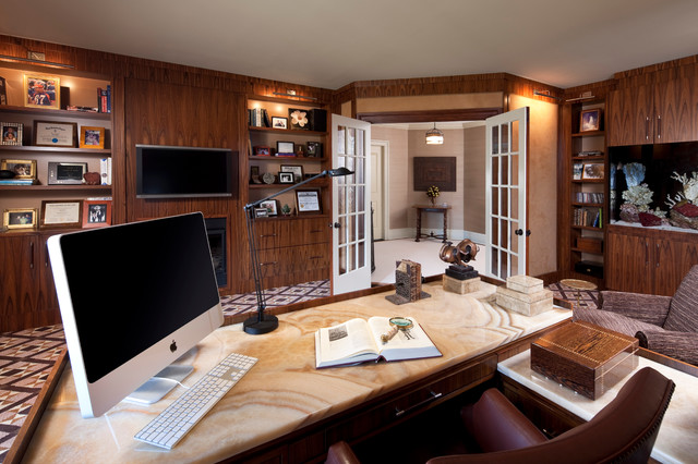 Contemporary Freestanding Desk Carpeted Home Office Idea In New York