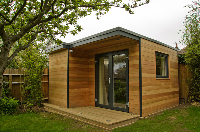 Garden Office in Surrey Contemporary Home Office Library