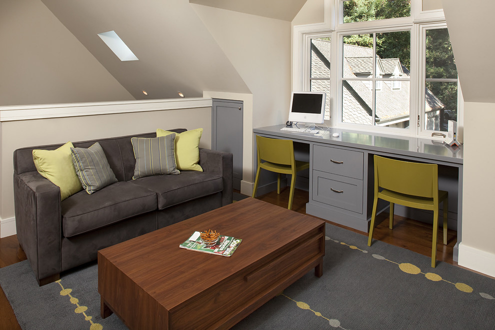Inspiration for a contemporary built-in desk home office remodel in San Francisco
