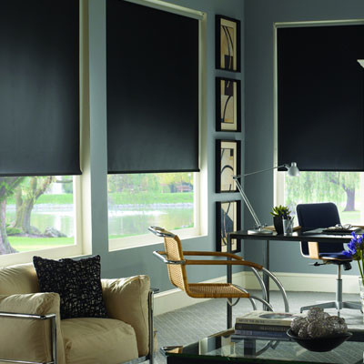 Blackout roller shades for media room contemporary for Blinds for modern homes