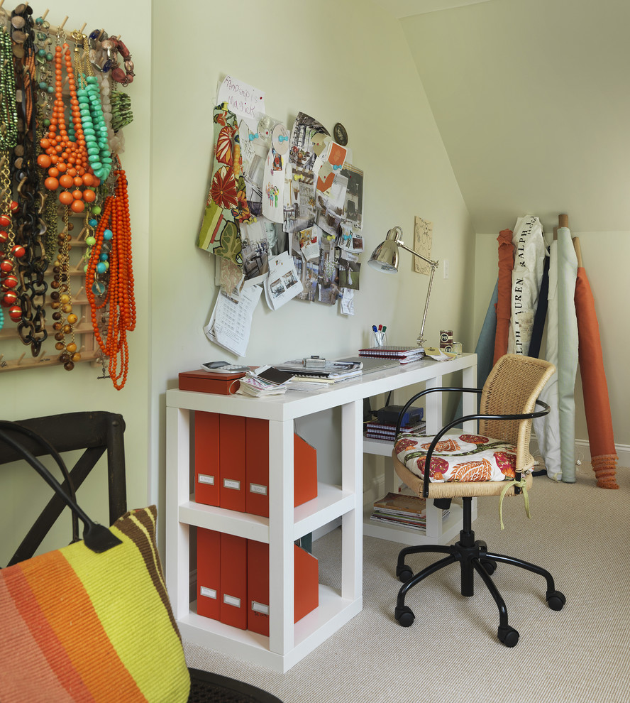 Example of a trendy craft room design in Providence