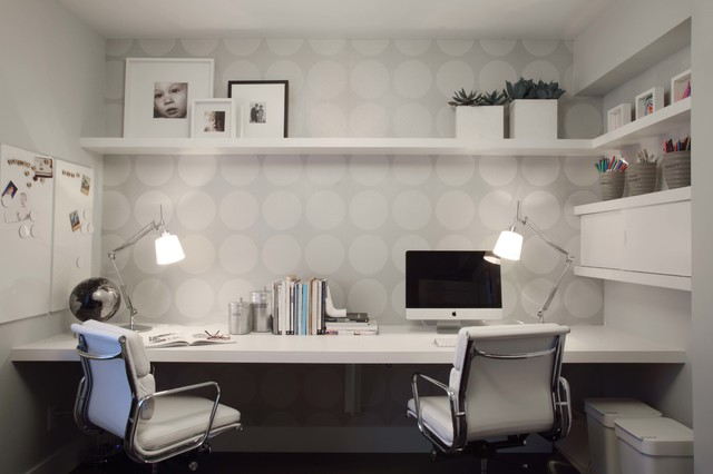 grey home office wall contemporary home office