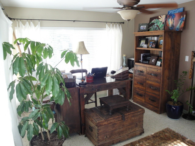 Cool Comfort with Rustic Vibe traditional-home-office