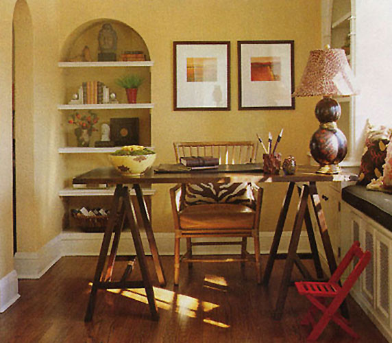 Country Club Tudor Traditional Home Office