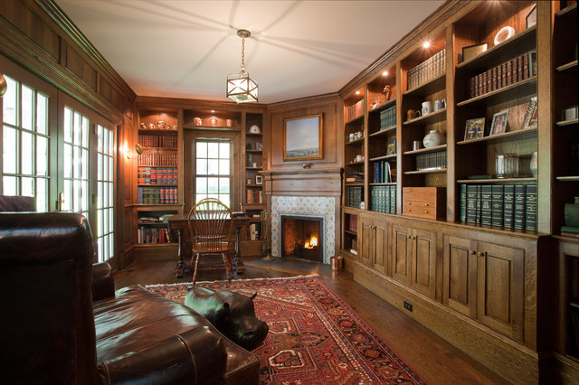 Inspiration For A Large Timeless Freestanding Desk Dark Wood Floor Study  Room Remodel In New York