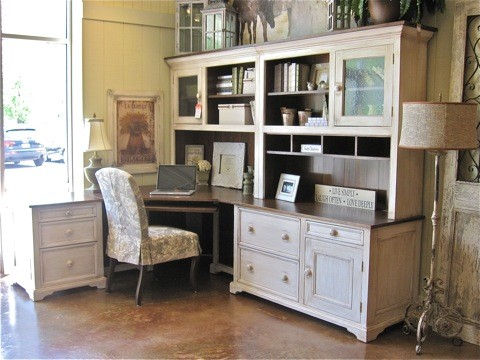 Example Of A Mid Sized Classic Freestanding Desk Concrete Floor Study Room  Design In New
