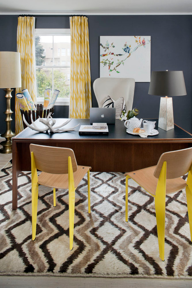 Inspiration for an eclectic home office remodel in San Francisco with blue walls
