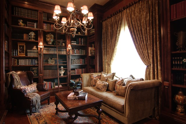 Cozy Elegant Library With Custom Bookcases Traditional Living Room