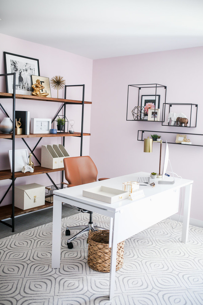 Inspiration for a small eclectic freestanding desk carpeted and gray floor home office remodel in Phoenix with pink walls