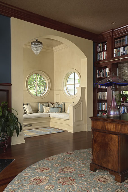 Cozy Reading Nook Off The Library Traditional Home