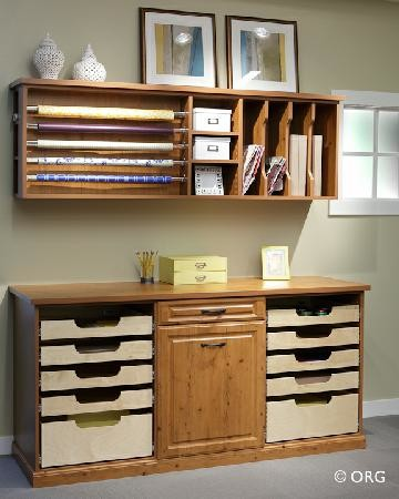 Craft and gift wrap storage traditional-basement