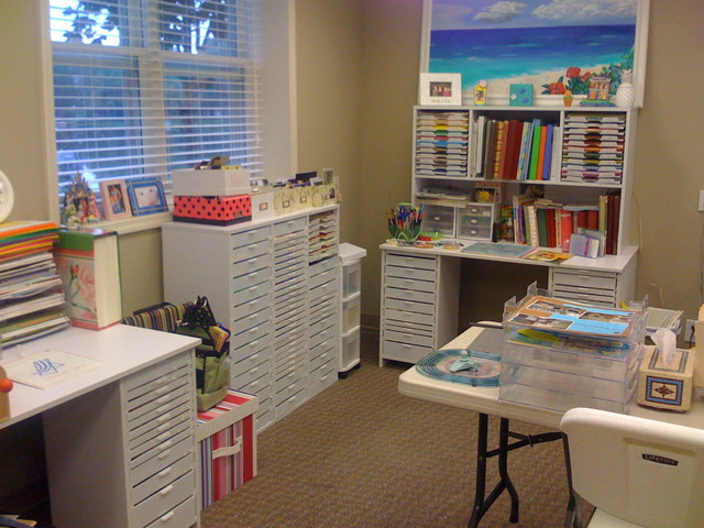 contemporary home office Craft room for scrapbooking