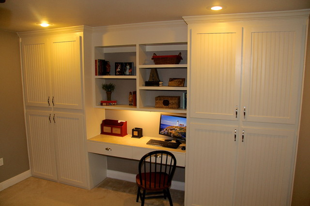 custom built in cabinets with desk traditional home