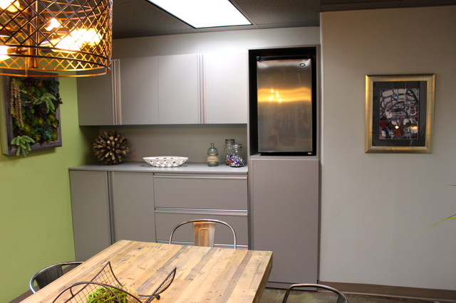 In Cabinets with Extrusion Handles - Industrial - Home Office - orange ...
