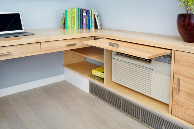 Custom built in desk modern home office new york by pickett furniture - Custom office desk ...