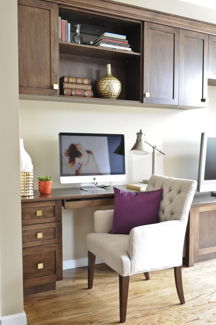 Custom desk and cabinets traditional-home-office