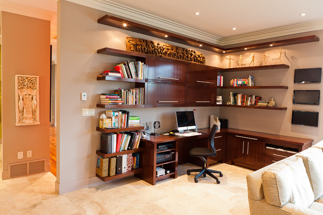 Custom desk contemporary home office edmonton by Custom home office design